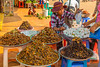 Tarantulas and locusts for sale at the insect market in the small village of Skoun, Cambodia, Asia.