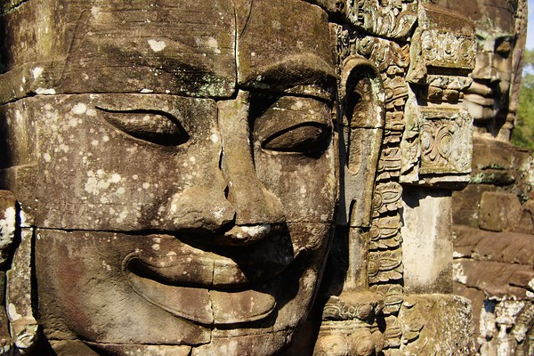The smiling stone faces at Bayon, Angkor Thom, Cambodia
