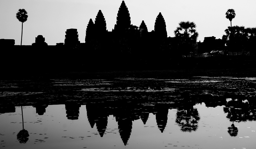The magnificent Angkor Wat rendered as a silhouette - Temples of Angkor, Cambodia.  Travel photo from Temples of Angkor, Cambodia.