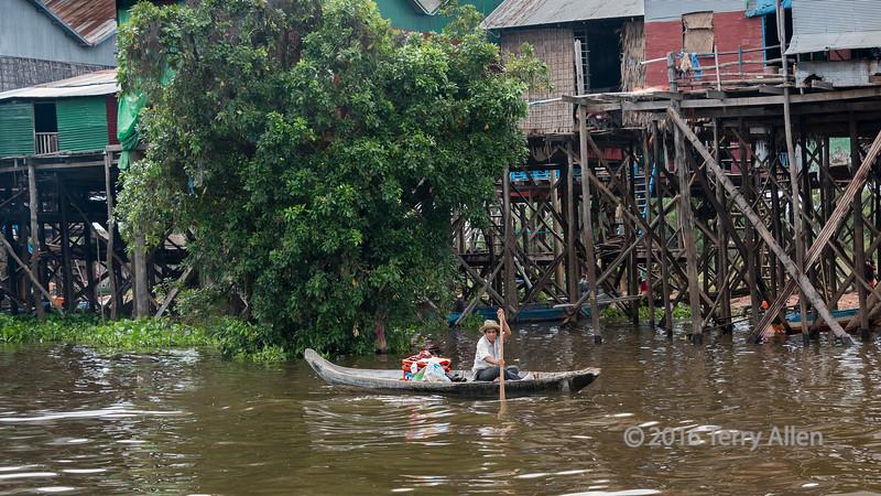 Rising waters in monsoon season on the Tahas River, Kampong Phluk, Cambodia