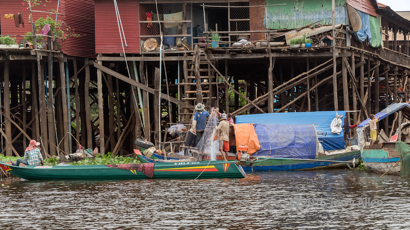 Inspecting-the-nets,-Kampong-Phluck-village,-stilt-houses,-Tahas-River,-Tonle-Sap,-Cambodia
