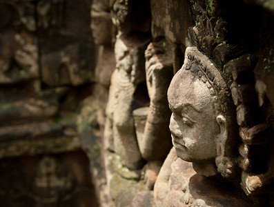 Profile of male god carved into stone, Angkor Wat, Siem Reap, Cambodia