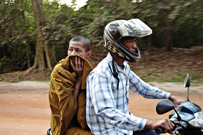 Monk on a Bike in Siem Reap