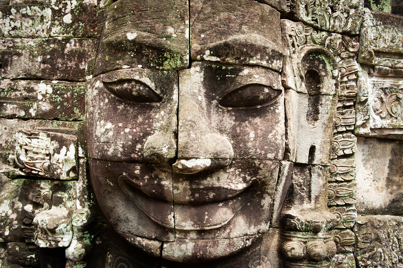 Close up of Buddha face, Angkor Wat, Cambodia