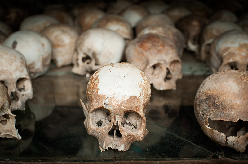 Human skulls, Killing Fields, Cambodia