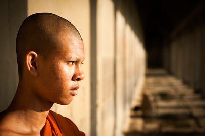 Profile of a young Buddhist Monk, Angkor Wat, Cambodia