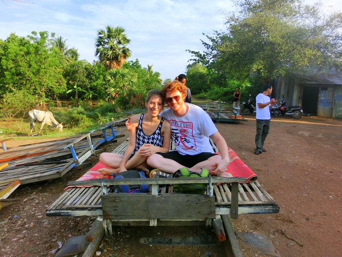 Riding the bamboo train in Battambang, Cambodia.