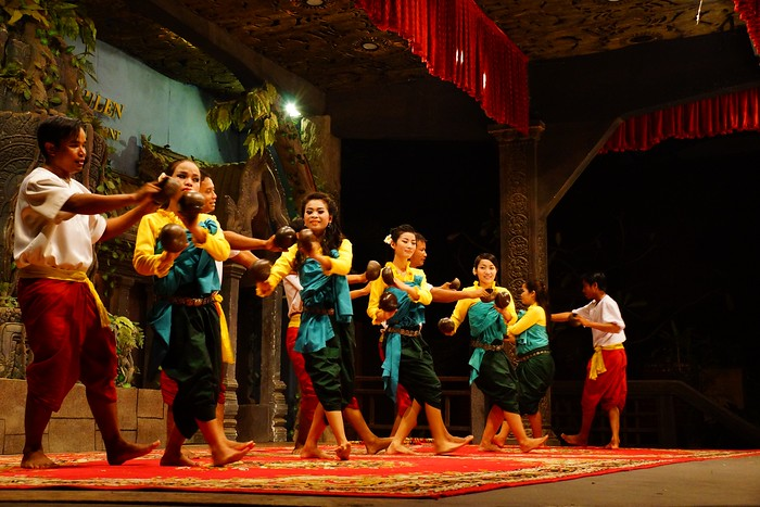 Watching in Apsara cultural dance performance in Siem Reap, Cambodia.