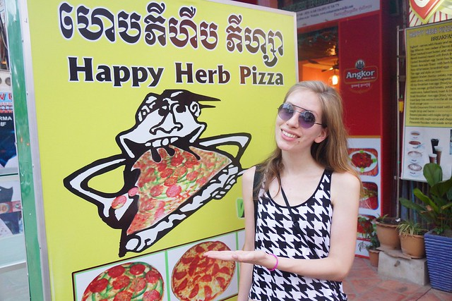 Happy herb pizza in Siem Reap, Cambodia