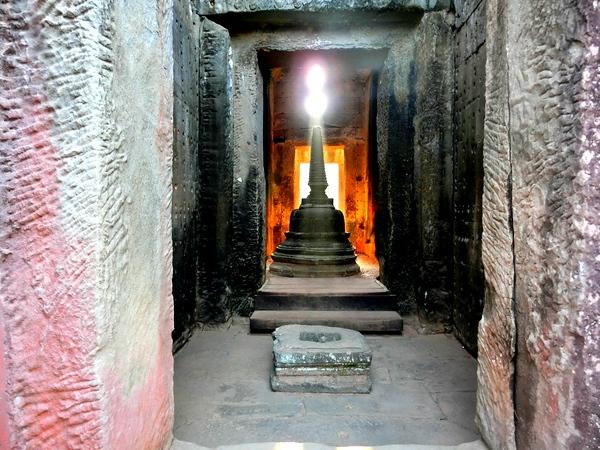 Sun streaming through the temple