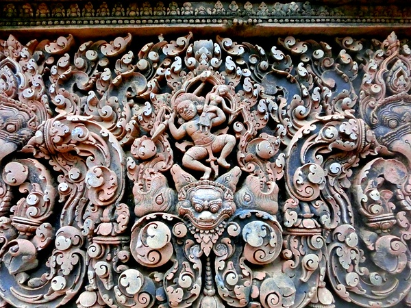 Details of Banteay Srei, the pink sandstone temple
