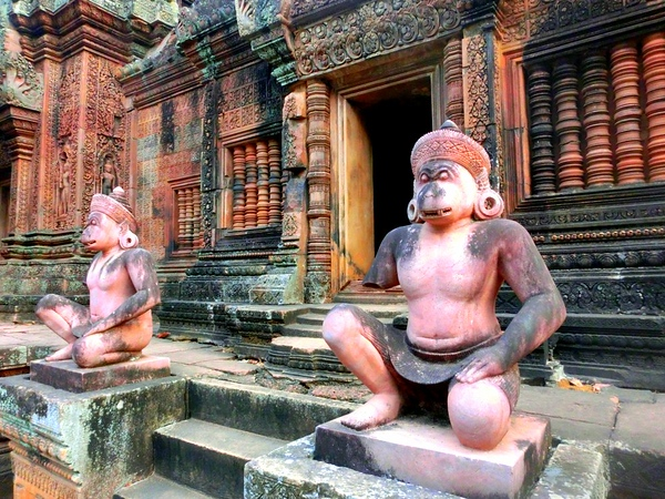 Guardian statues at Banteay Srei, Cambodia