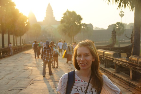 Sunrise over Angkor Wat at the Temples of Angkor outside Siem Reap, Cambodia