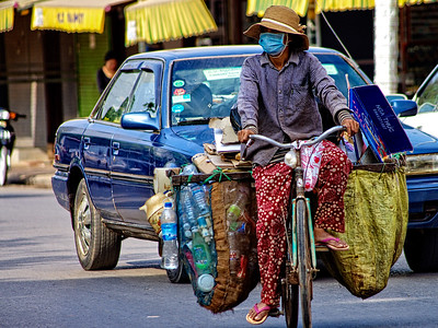 Woman on Bicycle in Siem Reap