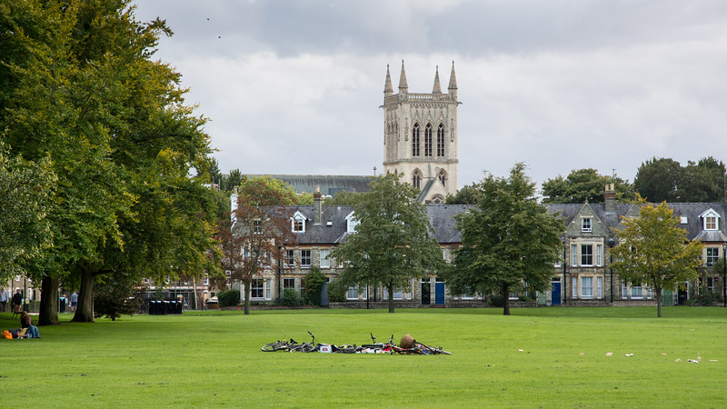Bicycles on Jesus Green in Cambridge