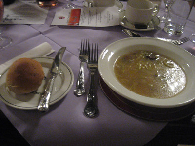 Traditional cock-a-leekie soup