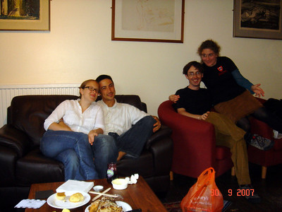 Steph, Tobias, Colin, and Muireann, hanging out in the Jesus grad room.