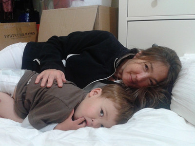 James and Maria having a cuddle