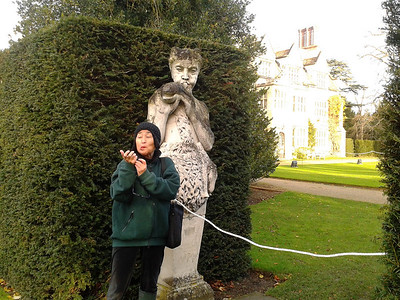 Mum being Pan, Anglesey Abbey