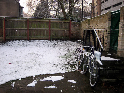 Our bikes in the snow (you can see snow flakes falling if you look *really* hard)