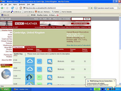 At 13:00 it's going to be snowing, raining, cloudy, and sunny, all at the same time, according to the BBC ;)