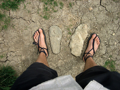 Tobs discovers some stone age sandals and compares them to his own.
