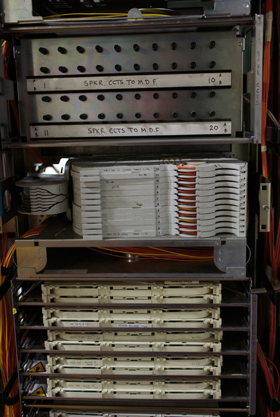 Optical Fibre Distribution Frame cabinet - handling the fibre optic backhaul. This shows the bottom Fibre Tie Tray (used for BT Wholesale)