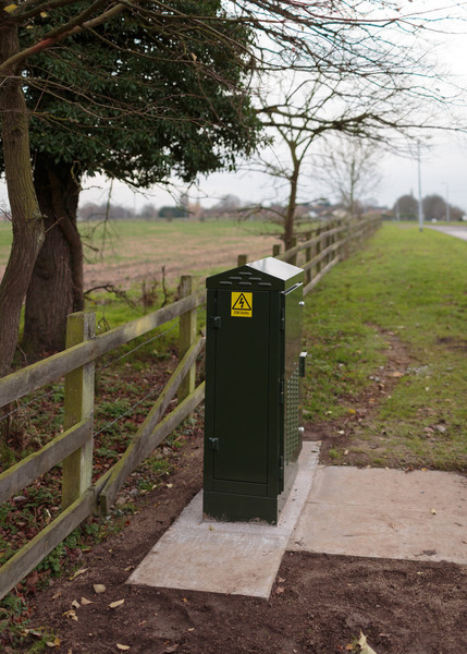 New fibre street cabinet installed in Perry as part of Connecting Cambridgeshire project (Dec 2013)