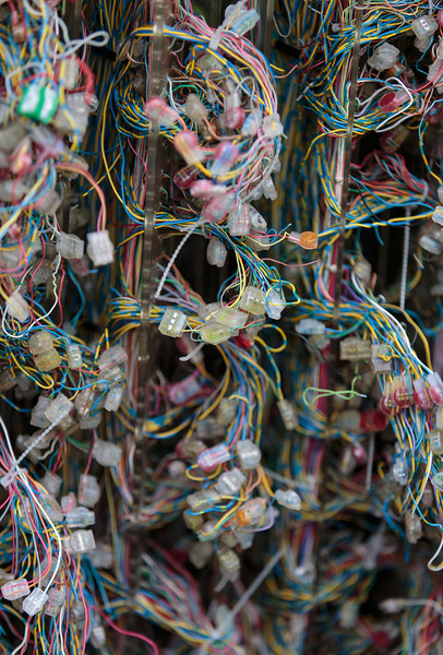 What a lot of wires! Inside the conventional street cabinet in Grafham (Nov 2013)