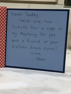 Inside of card for Teddy
