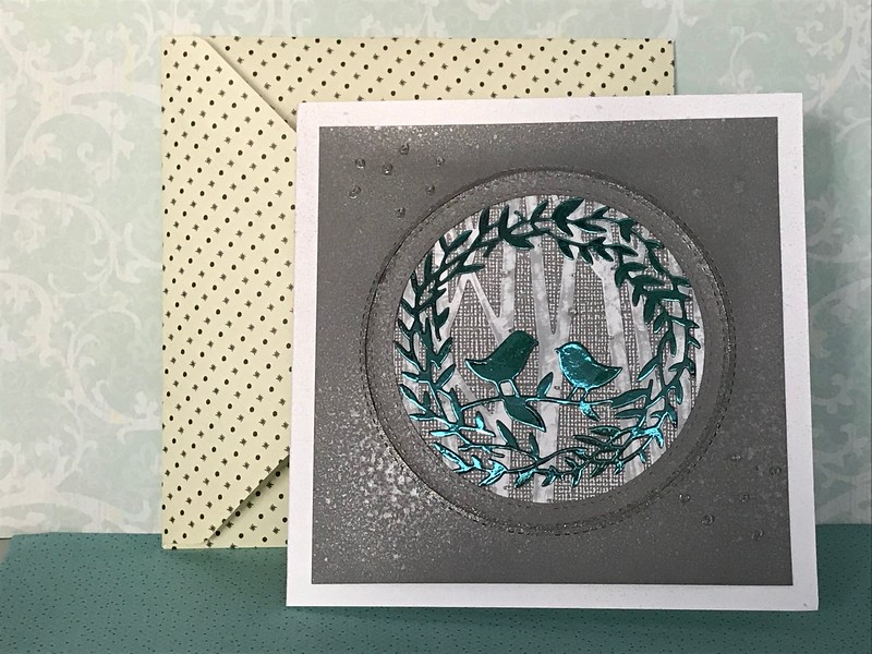 Birds in wreath card