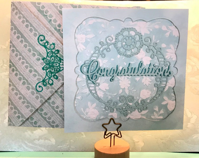 Papertrey lacy die cut, background with ink and embossing folder