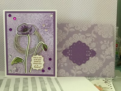 Pretty much the same as the turquoise poppy card, just in purple and a bit bigger