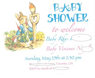 Peter Rabbit Shower Invitation