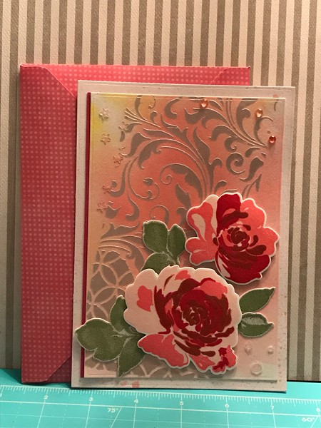 Floral card with stencil background