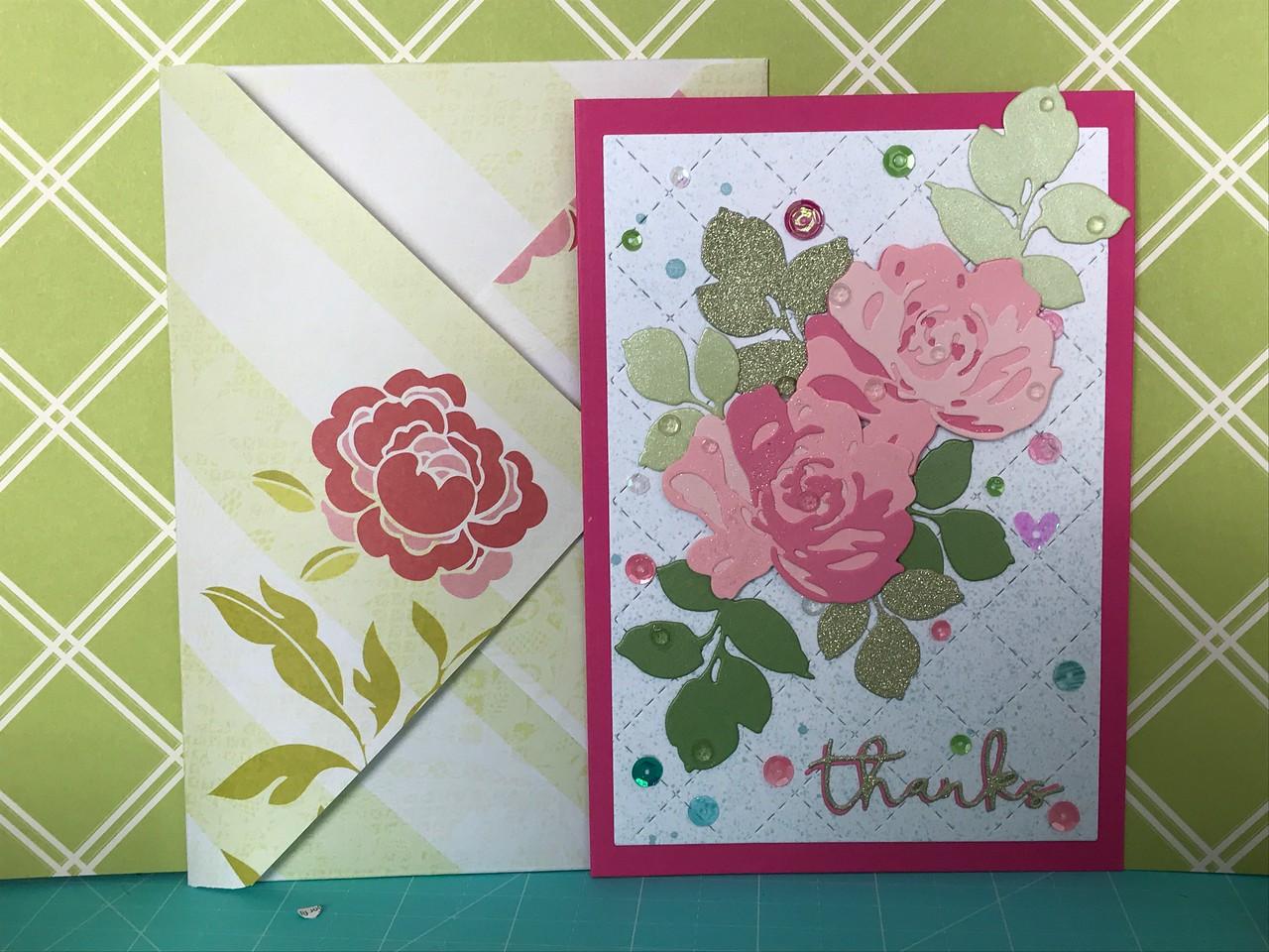 Altenew die-cuts thank you card. Kaiser craft background cover die sprayed with Altenew ink spray