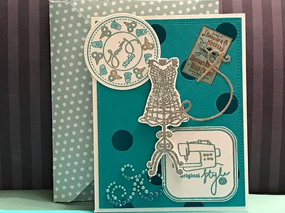 Sewing themed card for quilt retreat gift