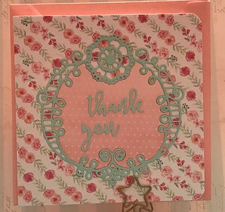Pretty frame is Papertrey. Sarah loves this design...she's selected several cards with this design. One of my favourites too.