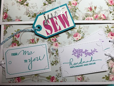 Sewing themed tags for quilt retreat gift