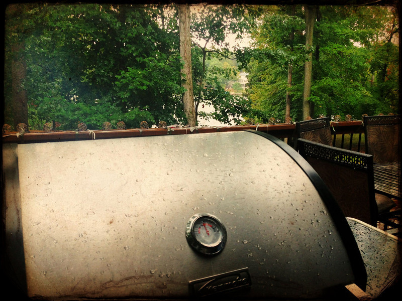 Grilling in the rain.