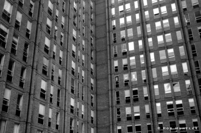 Back side of a high rise building in downtown Ottawa.