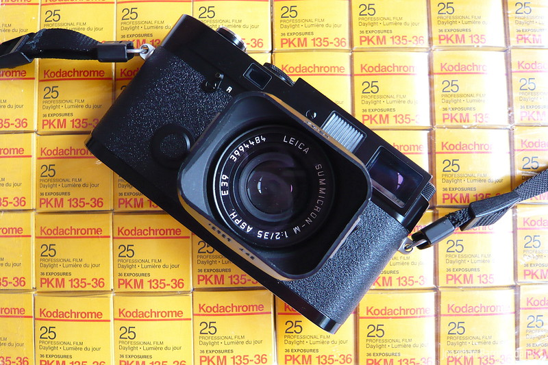 Leica MP on brick of Kodachrome 25 Professional (PKM)