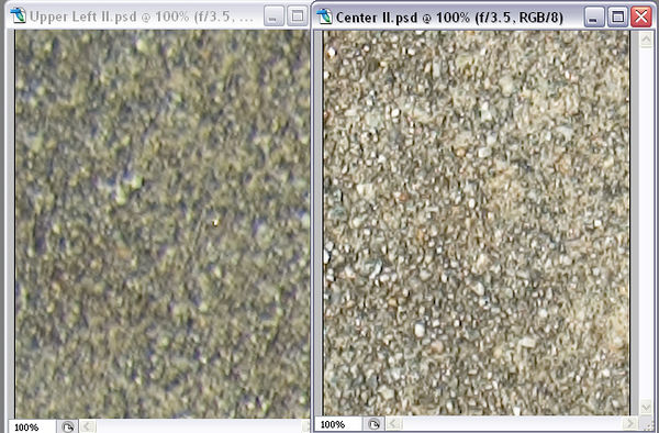 These test images are 100% crops of 11.2 megapixel interpolations of 6 megapixel NEF files from a Nikon D70 in Photoshop CS2. <br><br> The left image is a crop of the upper-left corner and the right image is a crop of the center of he frame. <br><br> f/3.5 <br><br> While you might see the more professional lenses beat out the Tokina at an apeture like this, I really don't mind a bit of corner softness since I don't shoot landscapes at f/3.5 ever, and when I do use f/3.5 it has never been an application where the corners mattered.  Maybe this isn't an acceptable softness for some shooters; you'll probably have to give in and buy the $1000 &#43;/- professional lenses.  However for myself it's simply never been an issue so I'm perfectly happy with it.