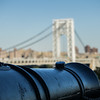 Old colonial cannon against the George Washington Bridge