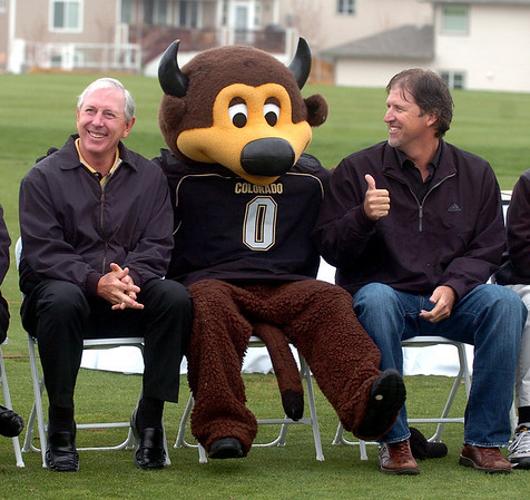 """"""" Chip"""" the mascot, join Hale Irwin and Steve Jones during the dedication.<br /> The grand opening for the Colorado National Golf Club, the new home for the Buffaloes, was held at the course in  Erie on Saturday.<br /> Cliff Grassmick / May 2, 2009"""