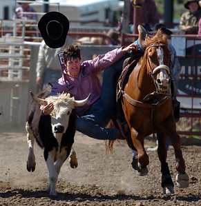 Dylan Wahlert jumps on the steer  during the  senior boys steer wrestling competition on Sunday. The 2009 Little Britches Rodeo was held this weekend at the Boulder County Fairgrounds in Longmont and was sponsored by the Elks #1055 Lodge.  For more photos go to www.dailycamera.com and click on photo galleries. Cliff Grassmick / June 28, 2009