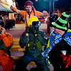 Adeo Alshareef, of Boulder, sneaks to scare (from right to left) Chris Newton, of Fort Collins,  Christian Moss, of Boulder and Peter Pintale, also of Boulder, as they celebrate on the Pearl Street Mall on Halloween night, Oct. 31, 2009.  <br /> KASIA BROUSSALIAN / THE CAMERA