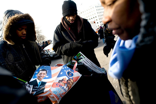 InaugurationTouring_kbroussalian_gmail.com.jpg Street vendors lined the streets in hopes of selling Obama memorabilia to the massive crowds before the Presidential inauguration of Barack Obama on the National Mall in Washington D.C. on January 20, 2009.<br /> CAMERA/ KASIA BROUSSALIAN