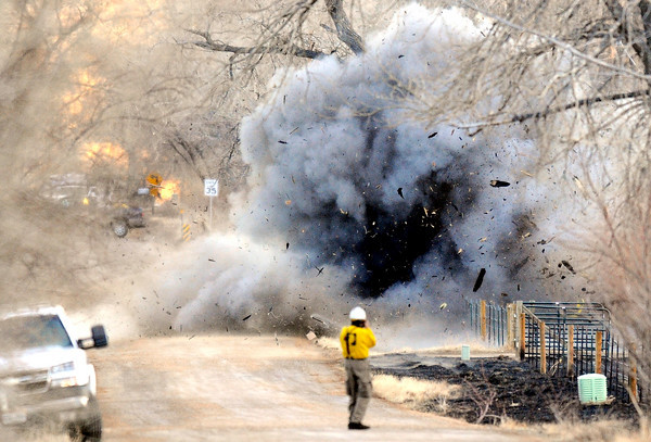 TREE_0109TREE.jpg Firefighters and emergency personnel detonate an old hollow cottonwood tree that was burning from the the inside out making it difficult to extinguish the fire at 34th and Nimbus Road in Boulder , Colorado January 08, 2009. CAMERA/Mark Leffingwell