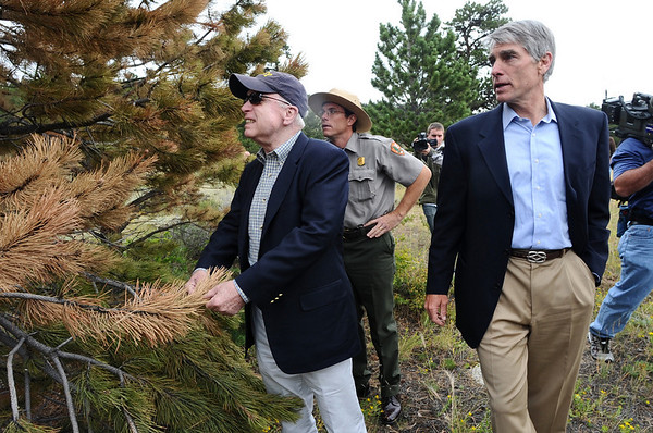 "N0825UDALL01.JPG N0825UDALL01<br /> Senator John McCain, left, checks out a tree damaged by mountain pine beetle along with Senator Mark Udall, right, at Rocky Mountain National Park on Monday. They are guided in their inspection by Ben Bobowski, center, chief of resource stewardship at the park. Afterwards, the senators held a hearing of the Energy and Natural Resources Subcommitte on National Parks to discuss the impact on climate change on Colorado's parks. TO SEE VIDEO OF THE VISIT, GO TO  <a href=""http://www.dailycamera.com"">http://www.dailycamera.com</a><br /> Photo by Marty Caivano / The Camera / August 24, 2009"